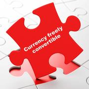 Money concept: Currency freely Convertible on puzzle background Stock Illustration