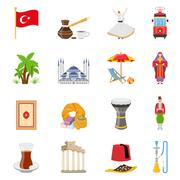 Turkey Flat Colored Icons Set Stock Illustration