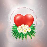 Red heart and daisy bouquet on glitter beige textured background. Stock Illustration