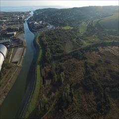 Aerial view of industrial incinerator Stock Footage