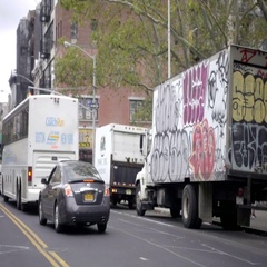 Graffiti truck on lower east side of Manhattan in NYC Stock Footage