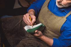 Craftsman making details for a new footwear Stock Photos