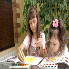 Children paint colors. Stock Footage