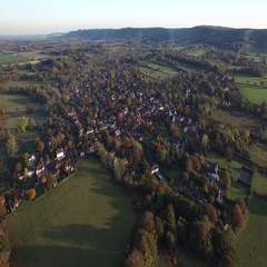 Aerial footage of Ditchling village Stock Footage