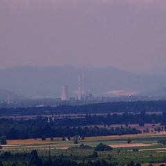 Cooling tower of a coal power plant Stock Footage