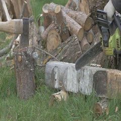 Man, firewood, axe, stack, chop, timber, time lapse, 4K Stock Footage
