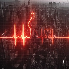 Abstract cardiogram on modern night city background Stock Footage