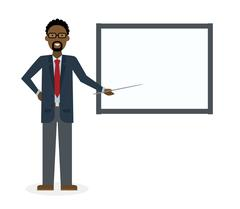 Businessman with board. Stock Illustration