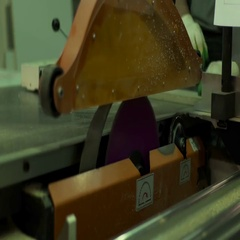 Furniture production wizard cuts the wood element Stock Footage