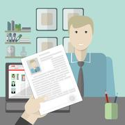 Job interview with resume. Stock Illustration
