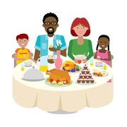 Family dinner table. Stock Illustration