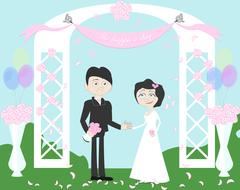 Wedding couple in archway. Stock Illustration