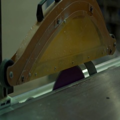 Furniture factory production and processing of sawing the wood element Stock Footage