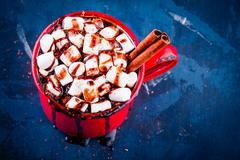 Hot cocoa with chocolate, marshmallow and cinnamon in a rustic red mug Stock Photos
