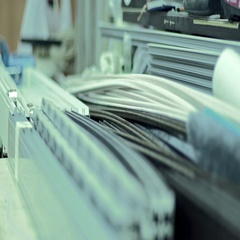 Furniture manufacturing factory processing of metal parts Stock Footage