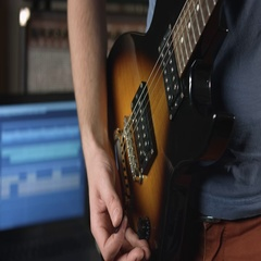 Playing rhythm on electric guitar Stock Footage