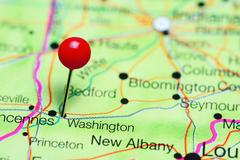 Washington pinned on a map of Indiana, USA Kuvituskuvat