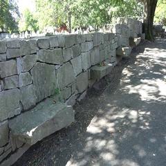 Memorial seat markers, Salem Witch Trials Memorial Park, Salem, MA. Stock Footage