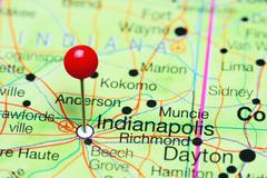 Indianapolis pinned on a map of Indiana, USA Kuvituskuvat
