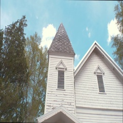 Front of Old, Wooden Church Building Stock Footage