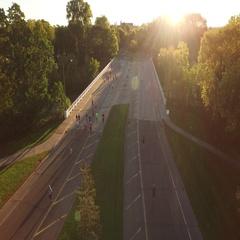 Fall Marathon Sunrise Turnaround Straight Overtop Stock Footage
