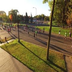 Fall Marathon Low Sunrise Turnaround Stock Footage