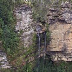 33 Aerial view of Katoomba Falls Blue Mountains Australia Stock Footage