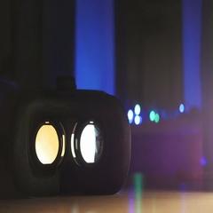 Movie playing inside virtual reality device Stock Footage