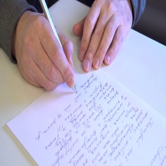 Man write letter Stock Footage