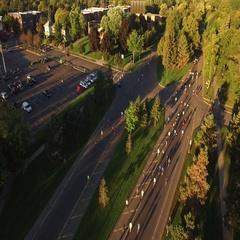 Fall Marathon Turnaround Point at Sunrise Stock Footage
