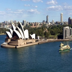 35 Aerial view of Sydney Opera House and Sydney ferry in Sydney Australia Stock Footage