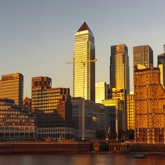 Canary Wharf Hyper Lapse TIme-Lapse, Day to Night Stock Footage