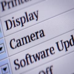 Camera. Looping. My own design of program menu. Stock Footage