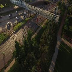 Fall Marathon Over Bridge with Sunrise Reveal Stock Footage