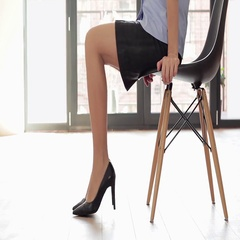 Stressful woman sitting on chair waiting for job interview, close up on feet HD Stock Footage