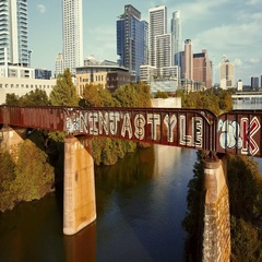 Lamar Bridge over Lady Bird Lake in Austin, Texas Stock Footage