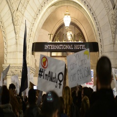 Protesters outside Trump Hotel to protest Donald Trump's election victory Stock Footage
