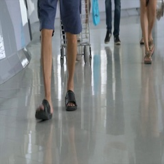 Low View of peoples walking, Shallow Depth Of Field. Stock Footage