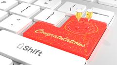 Congratulations keyboard red Stock Illustration