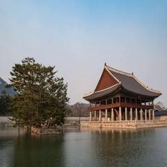 Gyeongbokgung Palace timelapse, Seoul, South Korea, 4K time lapse Stock Footage