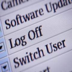 Log Off. Looping. My own design of program menu. Stock Footage