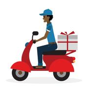 Delivery man on scooter. Stock Illustration