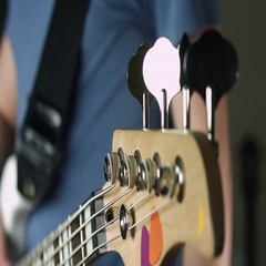 Tune bass guitar close up Stock Footage