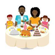 Family dinner table. Stock Illustration