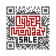 Cyber Monday Sale Lettering with QR-code consist of binary code Stock Illustration