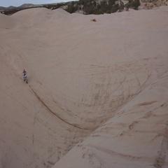 Large Sand Dune Jump on Dirt Bike HD Stock Footage
