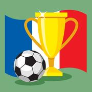 Soccer ball on French flag background. Stock Illustration