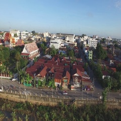 Aerial along Mun River in Ubon Ratchathani,Ubon Ratchathani,Thailand Stock Footage