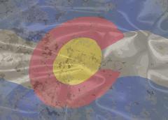 Colorado State Silk Flag Stock Illustration