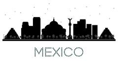 Mexico City skyline black and white silhouette Piirros